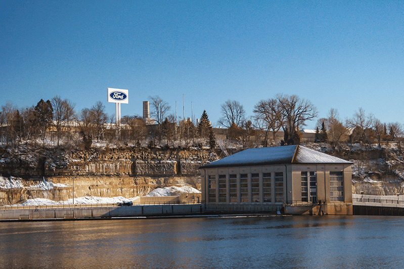 Ford plant on the river in winter, photo by Tony Webster