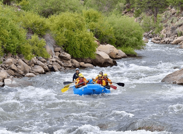 Rafting group in whitewaters