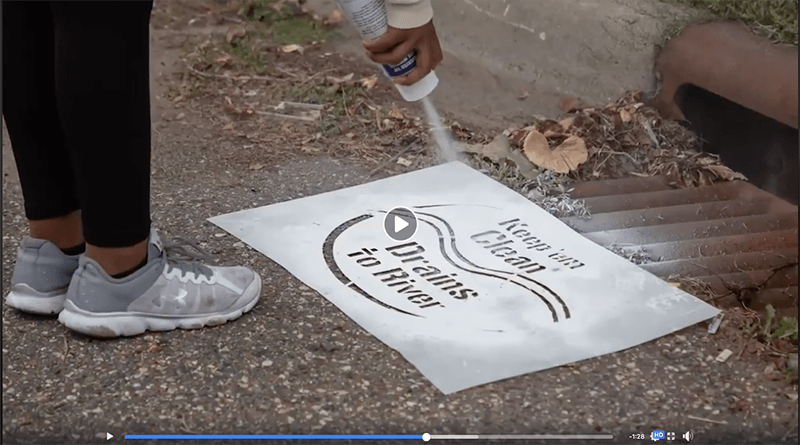 Help reduce river pollution by stenciling storm drains