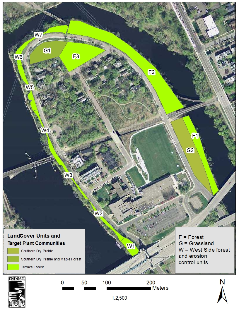 Zones for restoration at Nicollet Island Park