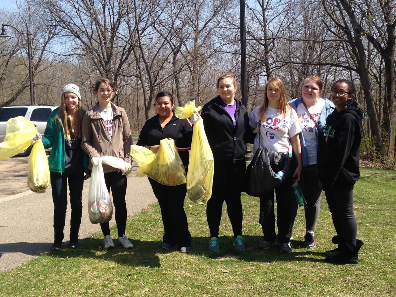 Image: A group of previous Earth Day volunteers returning with their haul