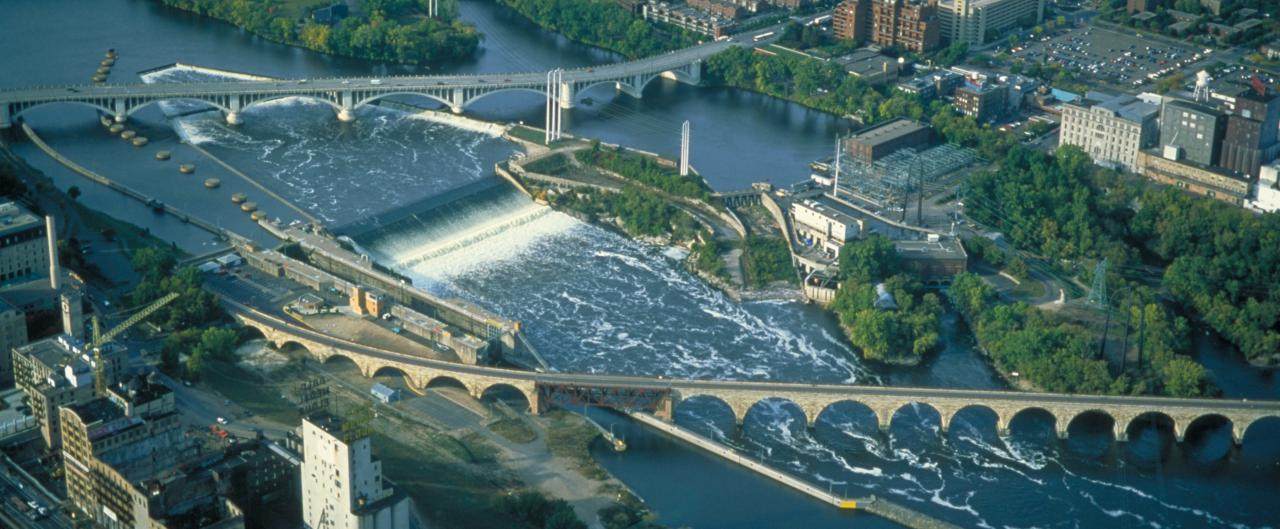 St. Anthony Falls locks and dams from bird's eye view