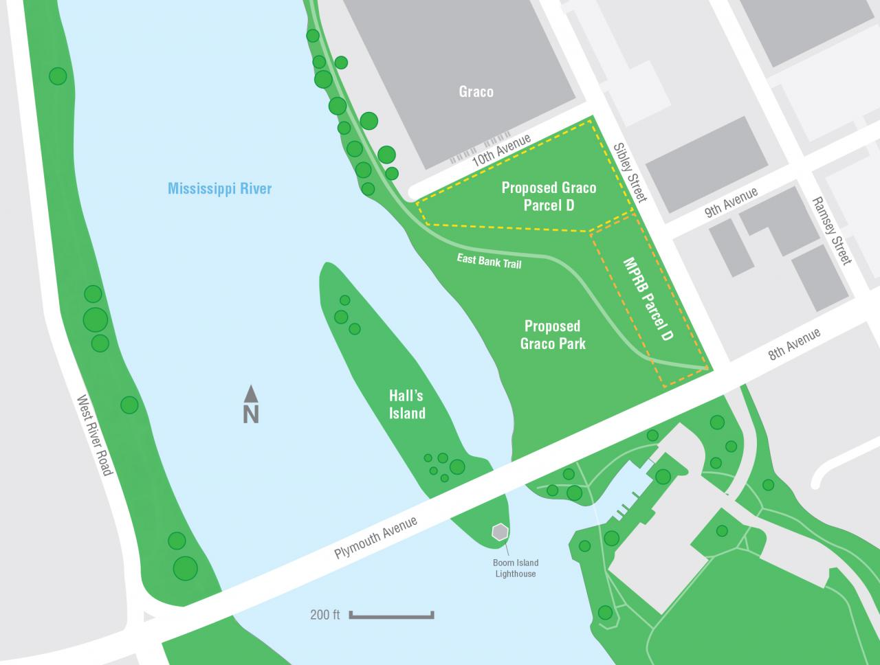 A map showing the former Scherer Brothers site and the parcel Graco may purchase from the park board.