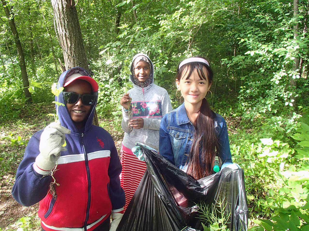 Students remove garlic mustard from the Mississippi River gorge in Minneapolis
