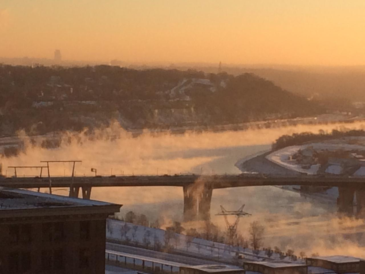Mist rising from the Mississippi on a cold December dawn