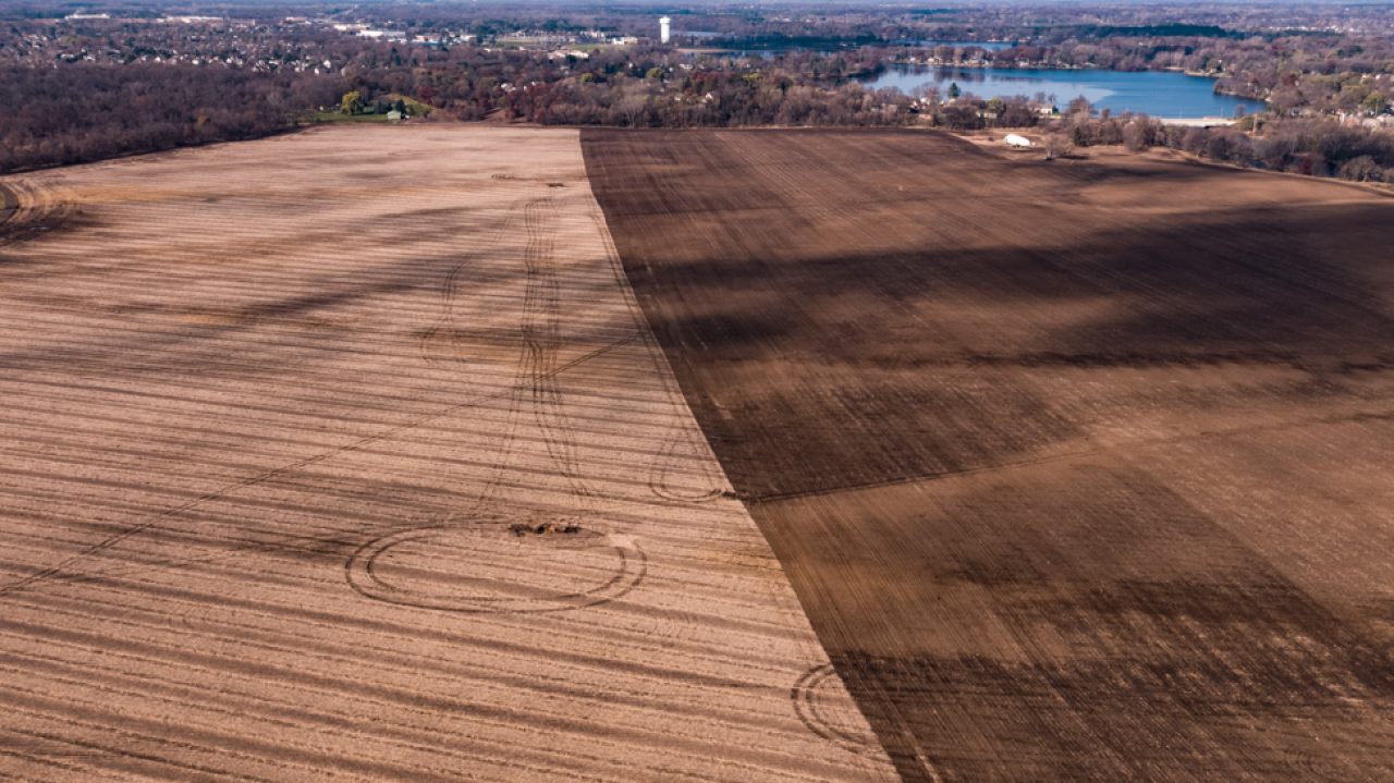 The farm field at the William H Houlton Conservation Area about to be turned into prairie