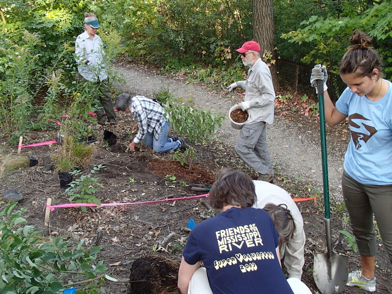 FMR Super Volunteers planting shrubs and forbs at the river gorge