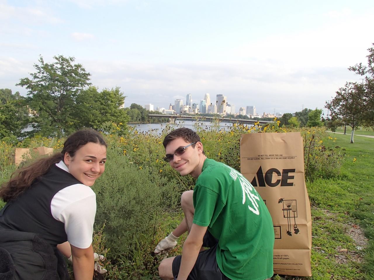 Volunteers tending pollinator habitat at Ole Olson in North Minneapolis.