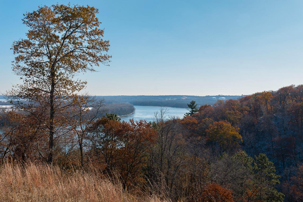 Bluffs and river in autumn