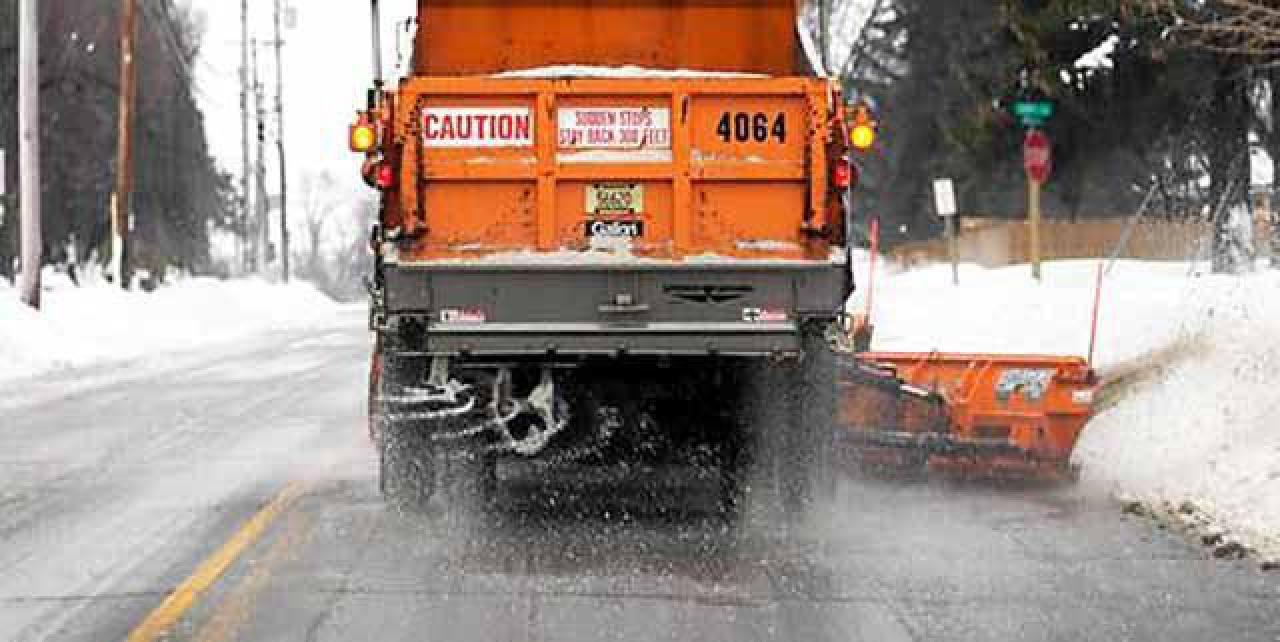 Road salt from street maintenance truck