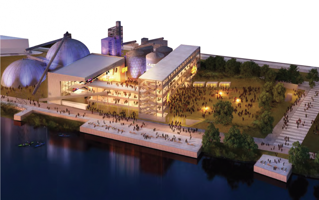 A conceptual drawing of a large multistory concert stadium next to the site's industrial structures and the Mississippi River.