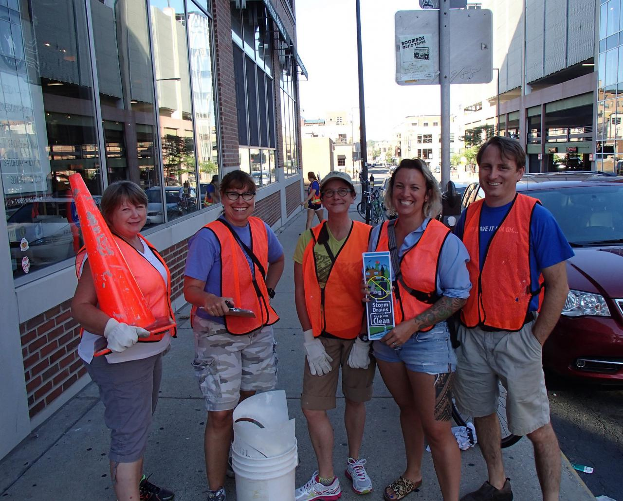 Volunteers ready to stencil storm drains in St. Paul