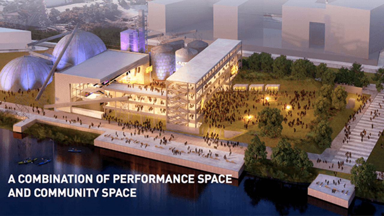 A rendering of the proposed Upper Harbor Terminal Community Performing Arts Center