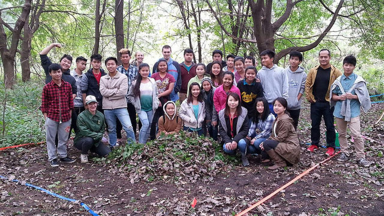 Harding High Earth Club students at their riverfront restoration and research site in St. Paul.