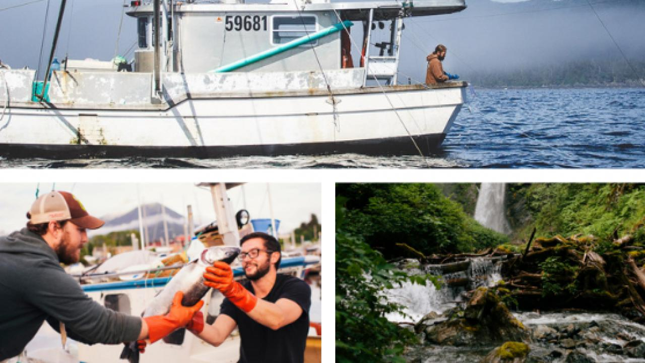 Fishing for seafood off the coast of Alaska in the North Pacific