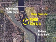 A map showing Area C on the east side of the Mississippi River. South of the main Ford site, north of Hidden Falls Park, and across the river from Minnehaha Falls Park.
